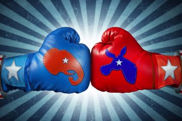 Illustration of gloves representing the Democratic and Republican partiesppo