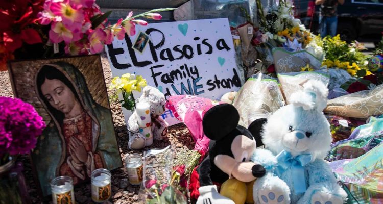 Photo of a memorial for the victims of the El Paso mass shooting