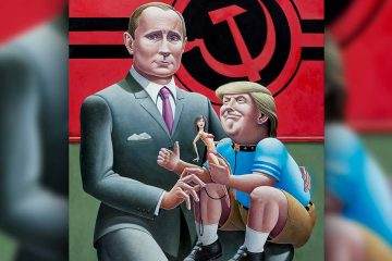 Painting of Donald Trump on Vladimir Putin's knee