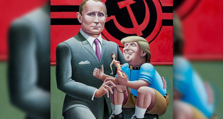 Painting of Donald Trump on Vladimir Putin's knee