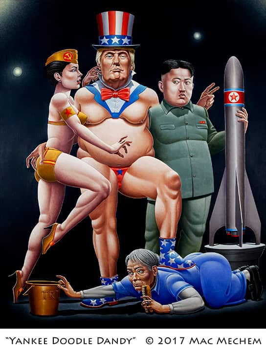 Satirical painting of President Trump and North Korea's Kim Jong Un