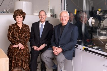 Photo of the Resnicks with Caltech President Thomas F. Rosenbaum