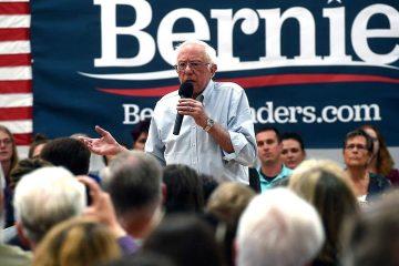 Photo of Bernie Sanders speaking at the podium