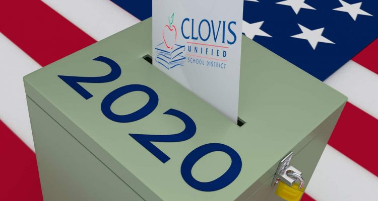 Composite of Clovis Unified logo and a 2020 ballot box