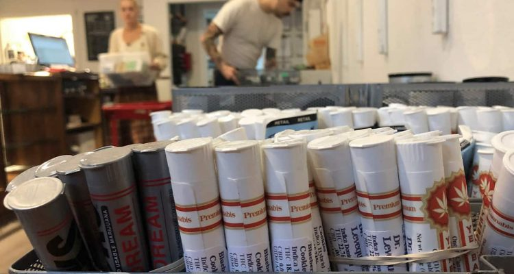 Photo of a row of marijuana vape products