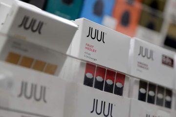 Photo of Juul products displayed at a smoke shop