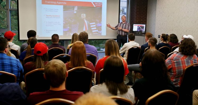 Photo of Mitch Freckleton during a College Republican voter registration training at the University of Akron Student Union in Akron, Ohio