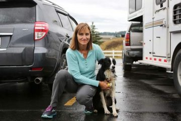 Photo of Carole King and her border collie, Kate, reunited in Kalispell, Montana