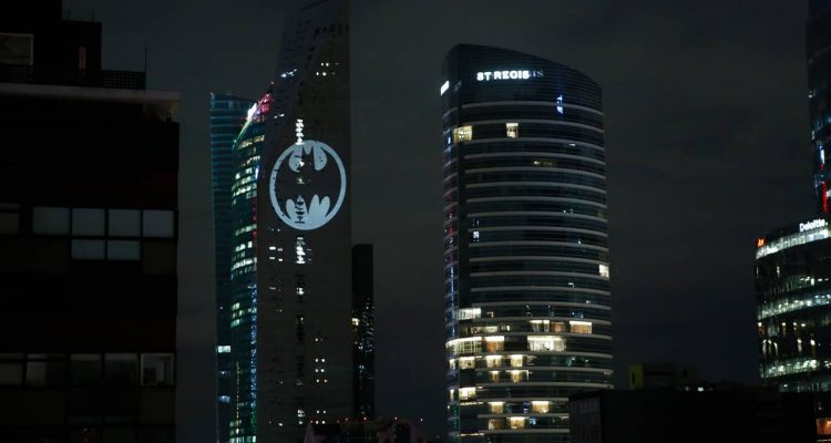 Photo of a bat signal in Mexico City