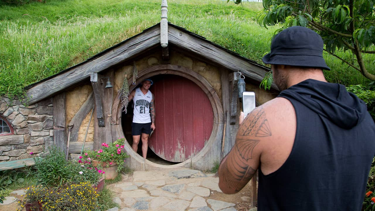 Photo of tourists taking photos during a tour of the Hobbit movie set