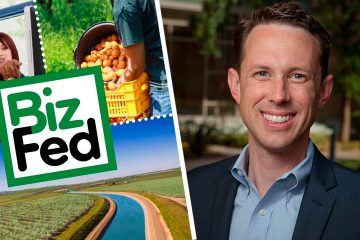 Composite image of the BizFed Central Valley logo and new executive director Clint Olivier
