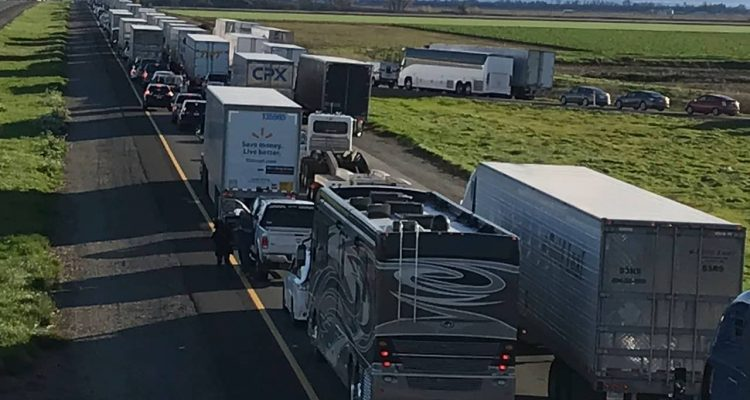 Photo of a 7-mile back up on the South bound Interstate 5