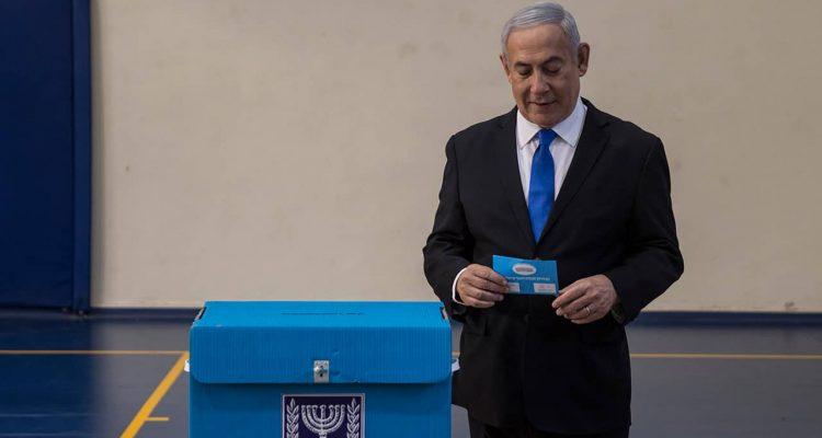 Photo of Benjamin Netanyahu at a voting station in Israel