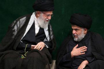 Photo of Supreme Leader Ayatollah Ali Khamenei and Iraqi Shiite cleric Muqtada al-Sadr
