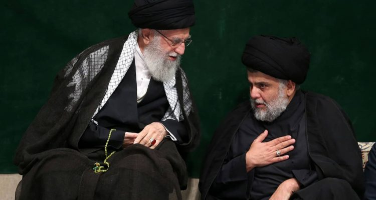Photo of Supreme Leader Ayatollah Ali Khamenei and Iraqi Shiite cleric Muqtada al-Sadr