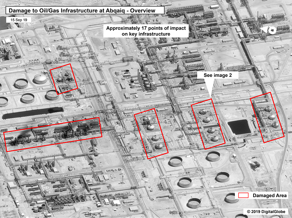 Photo of a map showing damage to the infrastructure at Saudi Aramco's Abaqaiq oil processing facility in Buqyaq