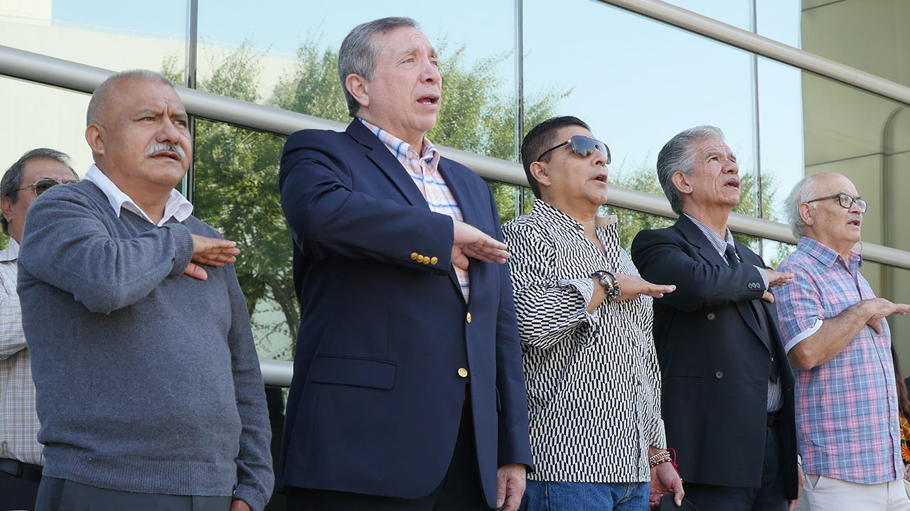 A delegation salutes the Mexican flag at Fresno City Hall (GV Wire/Jahz Tello)