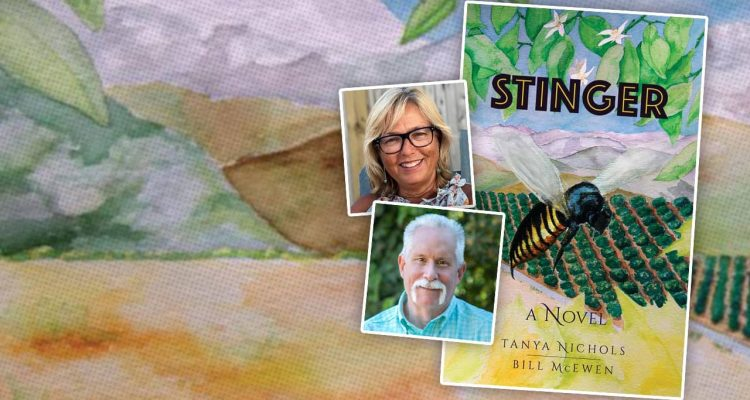 "Composite image of the novel ""Stinger"" and portraits of authors Tanya Nichols and Bill McEwen"