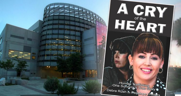 Composite photo of the Madden Library and the cover of the book A Cry of the Heart