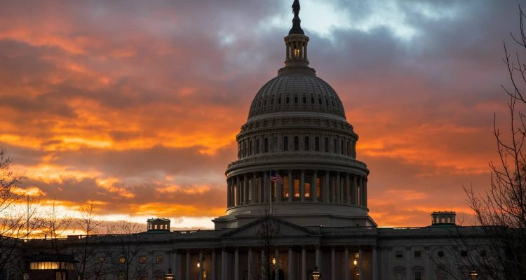 Photo of the Capitol at sunset in Washington