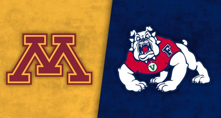 Logos of Minnesota and Fresno State athletics teams