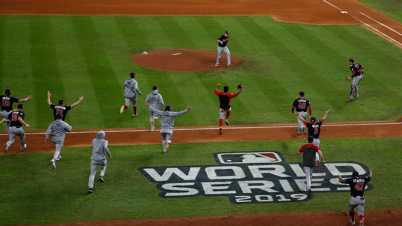 Photo of the Washington Nationals after winning the World Series