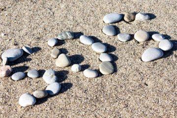 Photo of SOS spelled in rocks