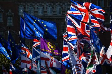 Photo of EU and Union flags