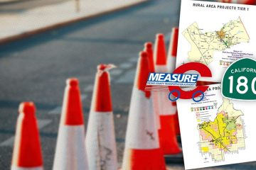 Composite image of a highway, safety cones, map, Measure C logo and Highway 180 sign symbolizing the Measure C transportation tax and