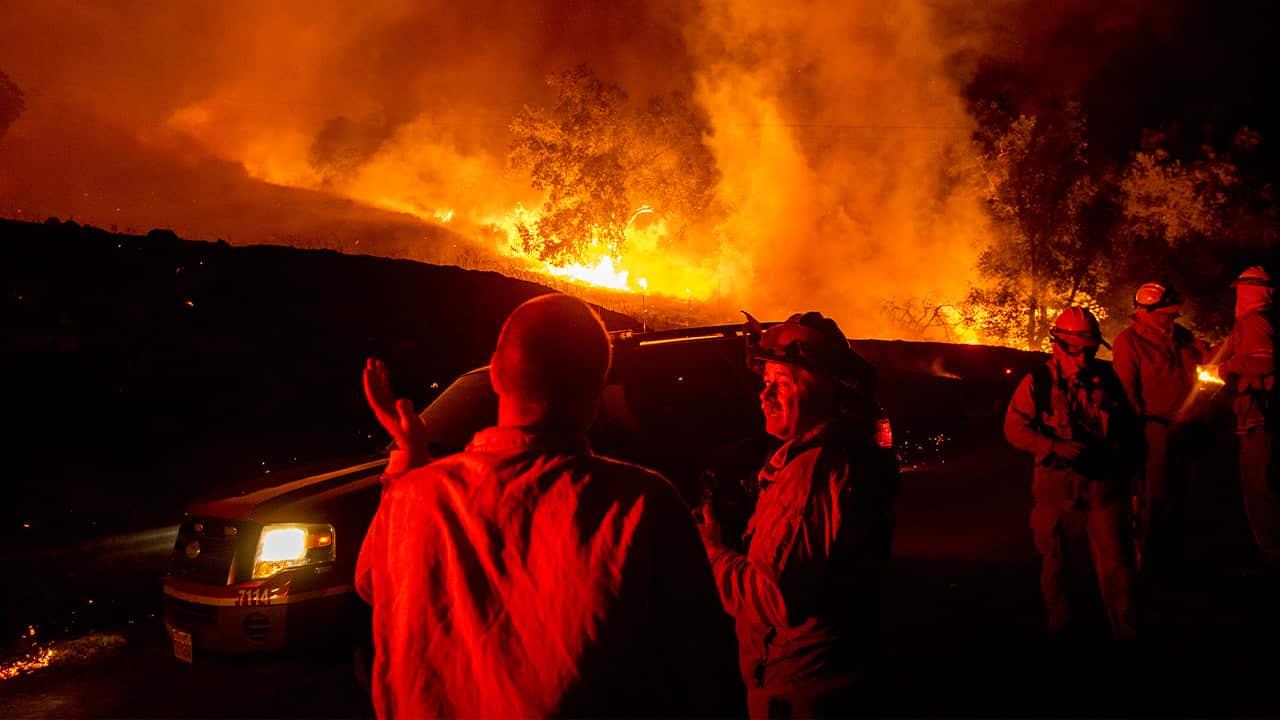 Photo of firefighters near the Kincade Fire
