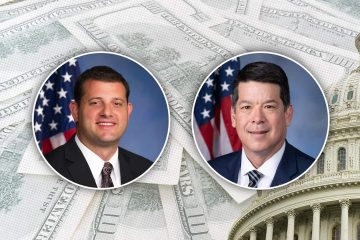 composite image of David Valadao, TJ Cox and the U.S. Capitol