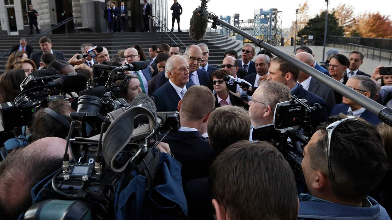 Photo of Attorney Joe Rice speaking to the media
