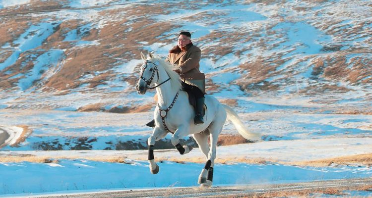Photo of Kim Jong Un riding a white horse