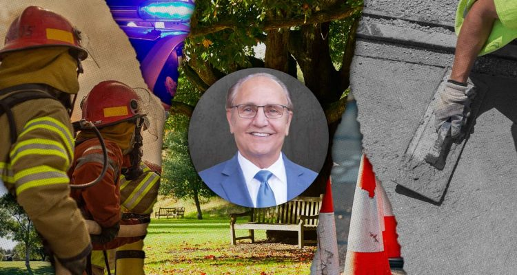 Composite image of a firefighter, a park, Mayor Lee Brand, and a sidewalk repair symbolic of the goals for a new Fresno sales tax