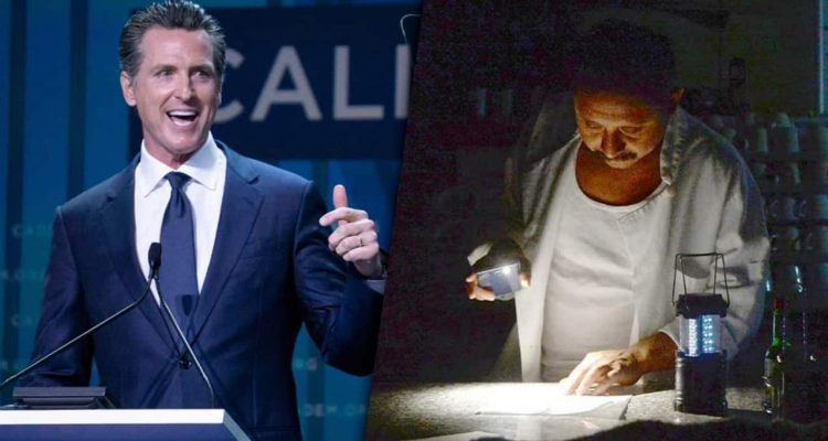 Composite images of Gavin Newsom and a PG&E customer using a flashlight during a power outtage