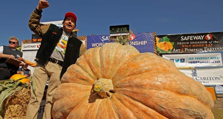 Photo of Leonardo Urena reacting after learning what his pumpkin weighs