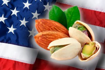 Composite image of almonds and pistachios blended with an American flag