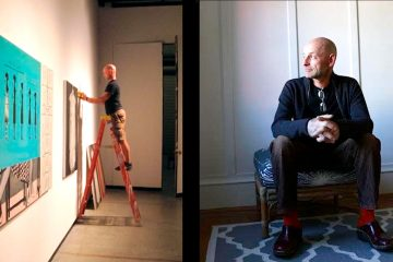 Side-by-side photos of Ed Lund. On the left, he is attaching art to a wall for an exhibit. At right, he sits in a chair.