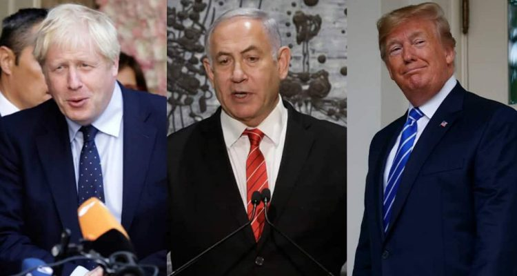 Photo of Boris Johnson, Benjamin Netanyahu, Donald Trump