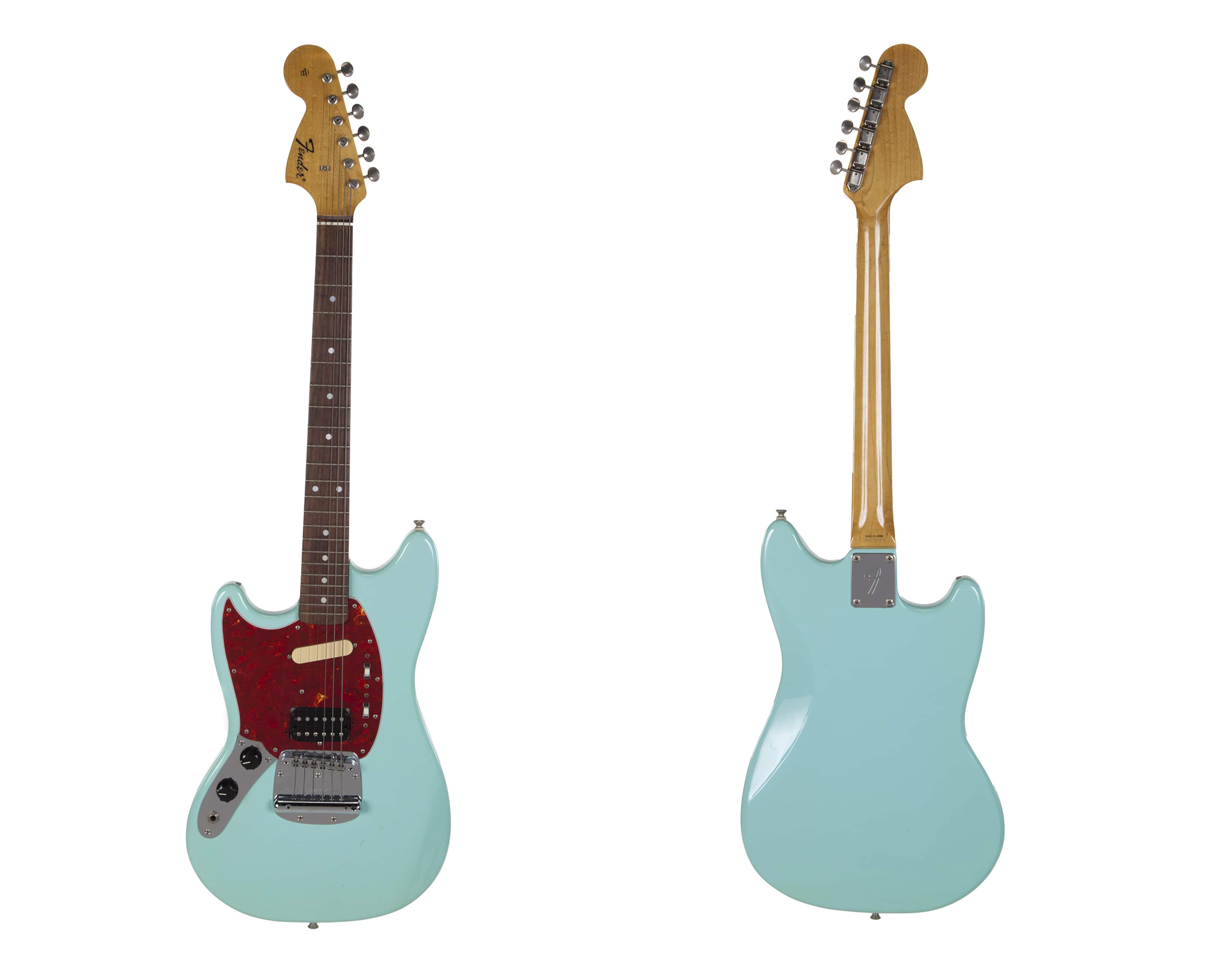 Photo of the front and back of a turquoise-bodied Fender guitar
