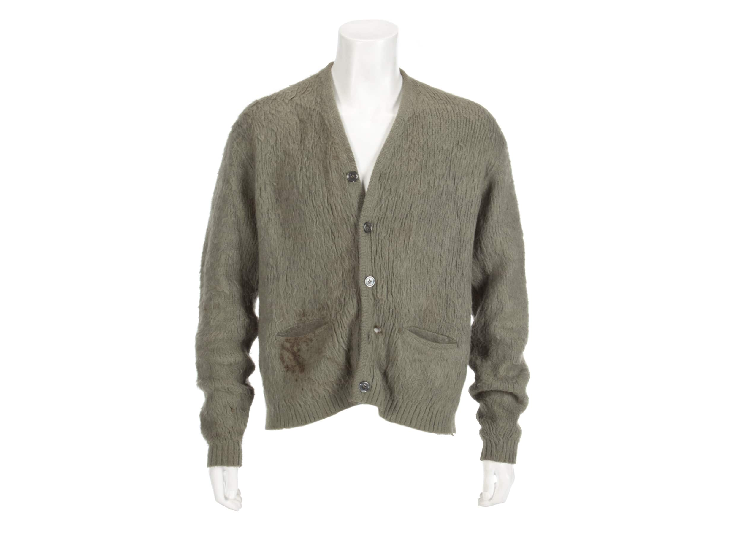Photo of the green cardigan worn by Nirvana frontman Kurt Cobain