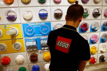 Photo of employee sorting Legos in the new LEGO flagship store
