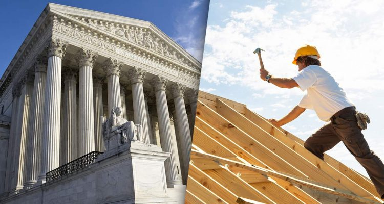 Photo combination of Supreme Court building and construction worker