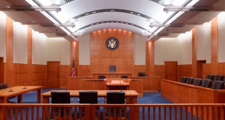 Photo of a courtroom at the federal courthouse in Fresno