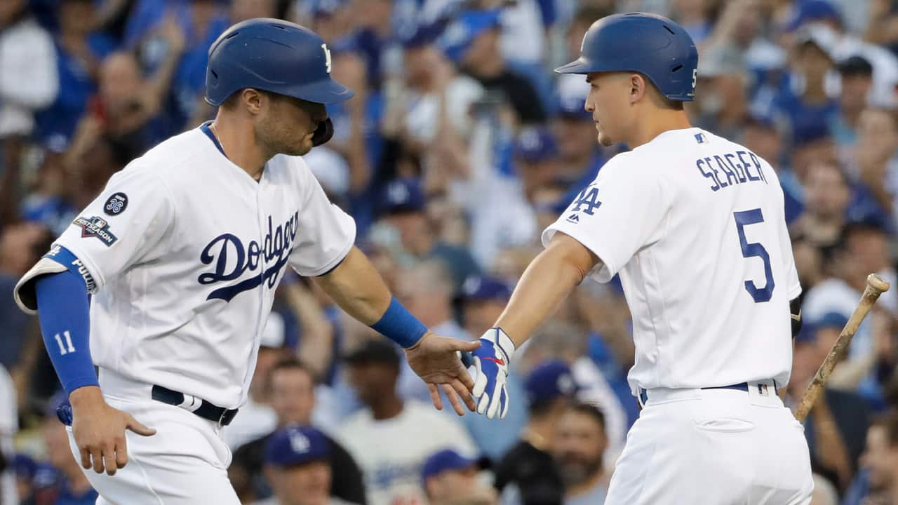 Photo of AJ Pollock and Corey Seager