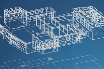 Image of blueprints for a school on a blue background