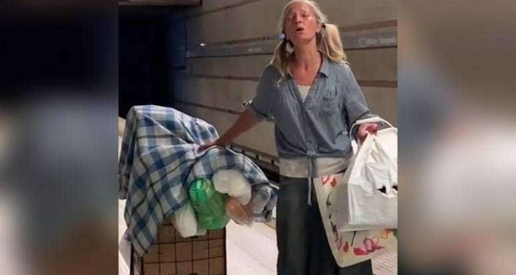 Photo of homeless subway singer