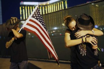 Photo of people on the first anniversary of the Las Vegas shooting