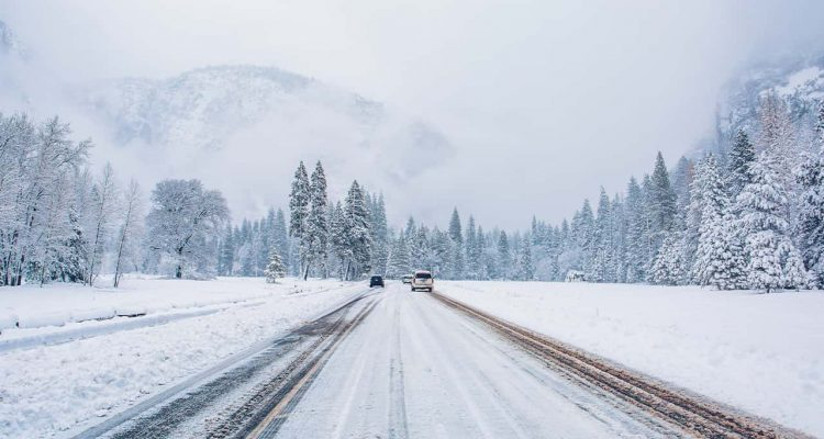 Photo of a snow covered road in Yosemite National Park