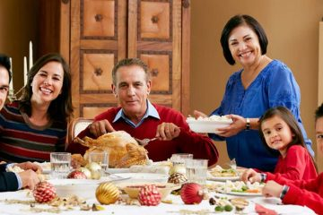 Photo of a family at Thanksgiving dinner